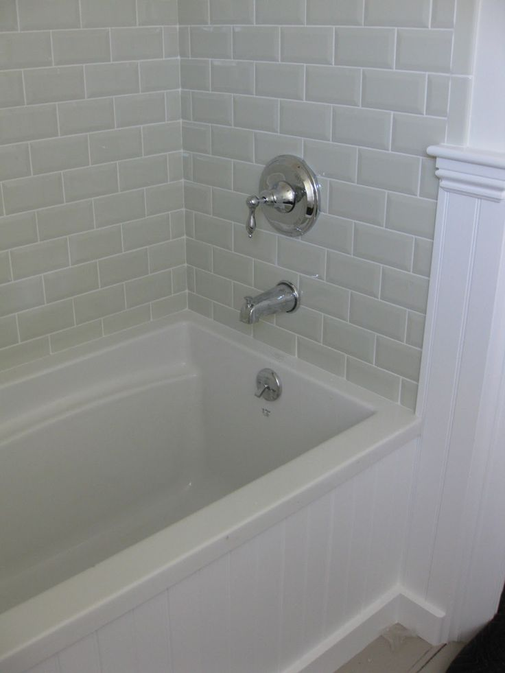 25 best ideas about beveled subway tile on pinterest glass cabinets classic white kitchen - Installing tile around bathtub ...