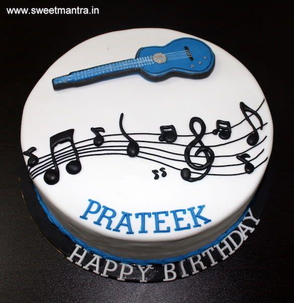 Pleasing Basic Guitar Music Theme Small Customized Designer Fondant Cake Personalised Birthday Cards Akebfashionlily Jamesorg