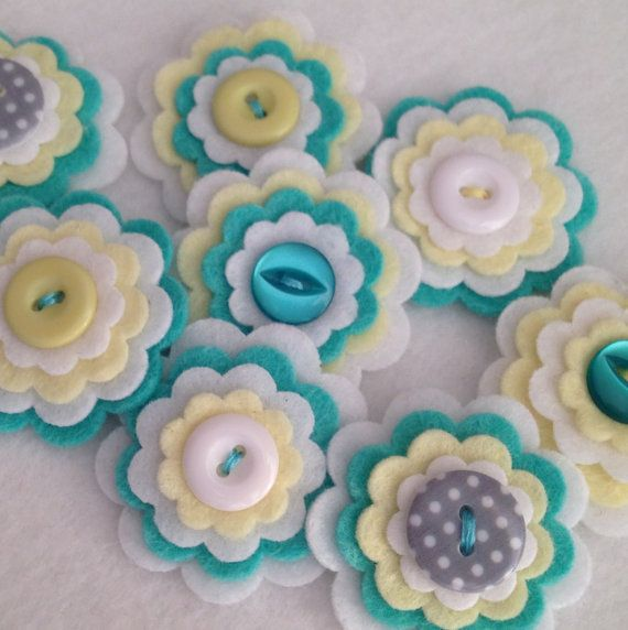 LEMON FRESH x3 Handmade Layered Felt Flower by MagentaGingerCrafts