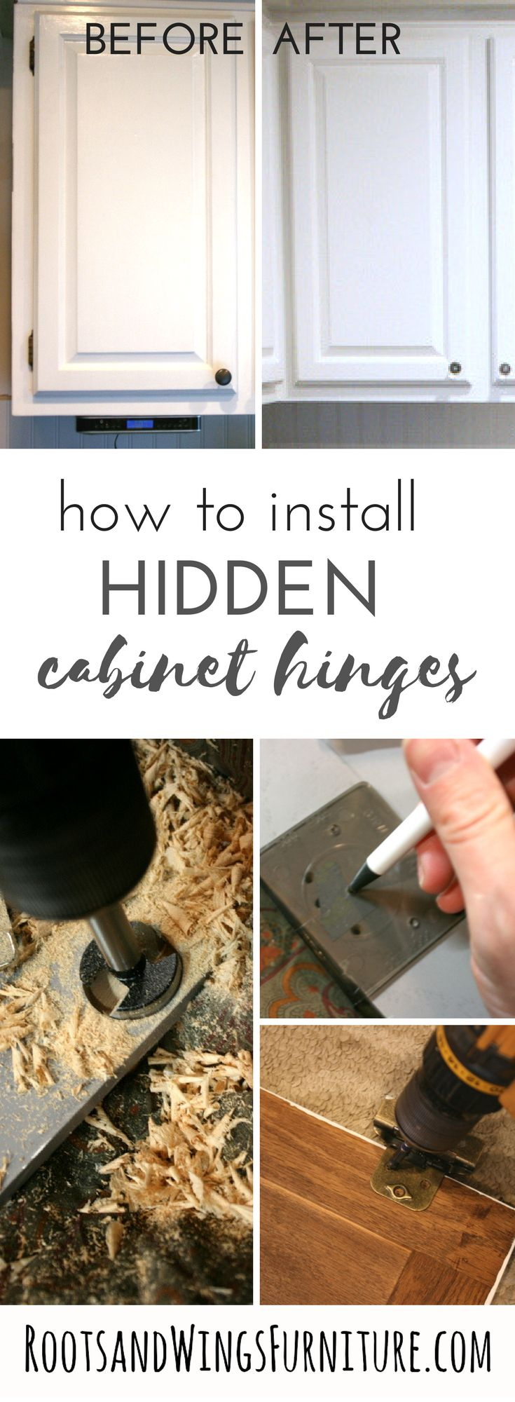 How to transform the look of your cabinets by installing hidden overlay hinges to your cabinet doors.  A tutorial on how it's done!