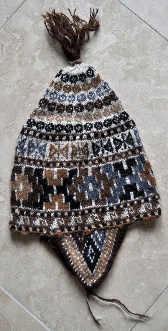 Knitting Pattern Peruvian Hat : Incan Cross Alpaca Hand Knit Earflap Hat from Peru Hands ...