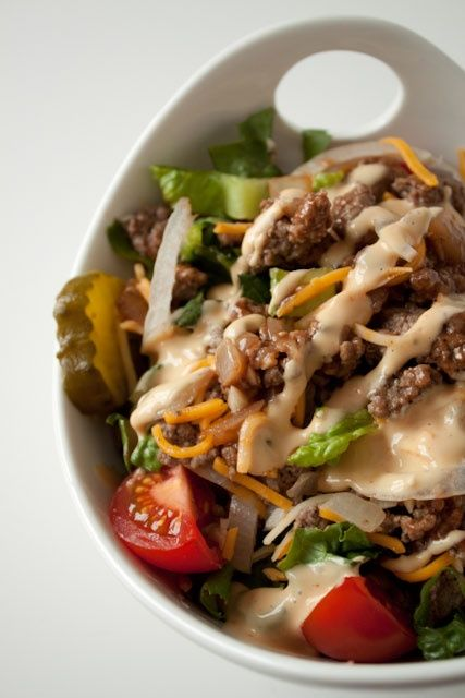 Cheeseburger Salad with Big Mac Dressing--For #NSNG, perhaps use a bit of tomato paste instead of ketchup and omit sugar