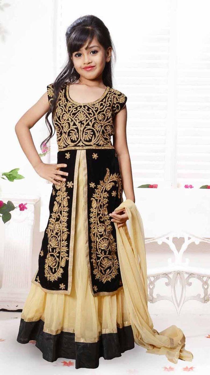 Eid kids kurta shalwar kameez designs 2013 2014 - Beige Black Velvet Net Jacket Style Kids Salwar Kameez