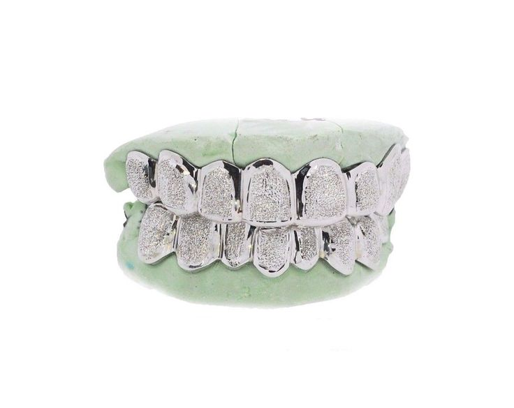 Grillz Dental Grills 152808: Custom 10K 14K White Gold Grillz Plated Diamond Dust Style Punchout Top And Bottom BUY IT NOW ONLY: $134.99