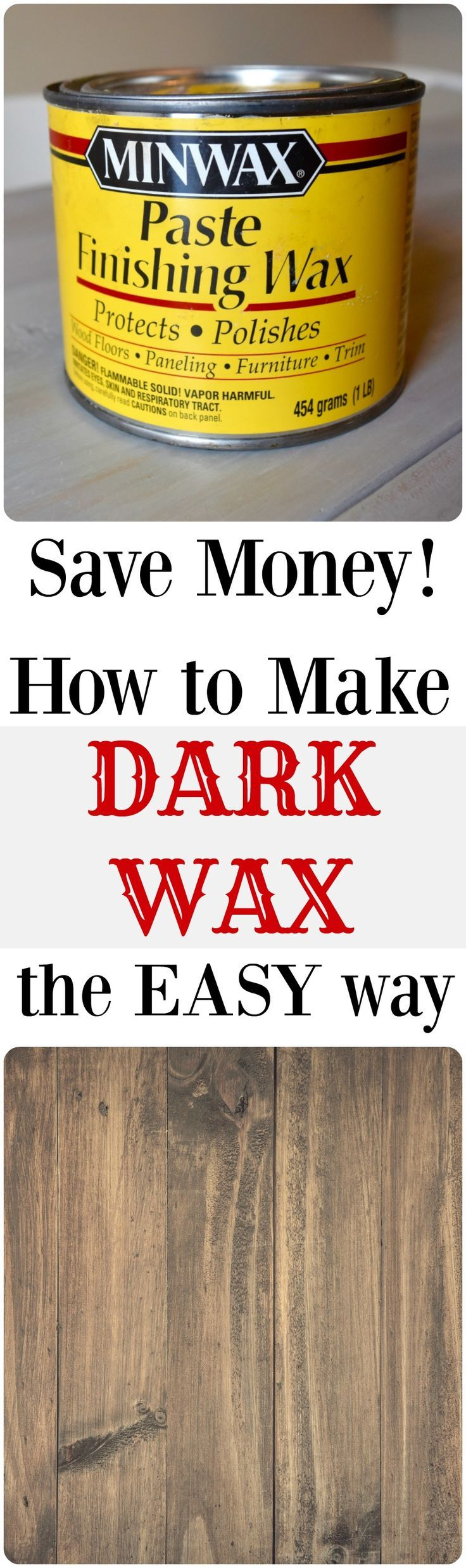 How to make dark wax. DIY. Use a microwave, stain and clear wax to make your own dark wax. Save money and DIY.