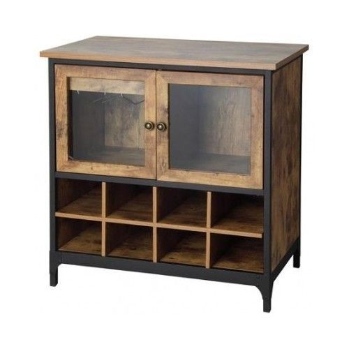 Cabinet Rack Rustic Bottle Glass Kitchen Buffet Bar Country Drawer