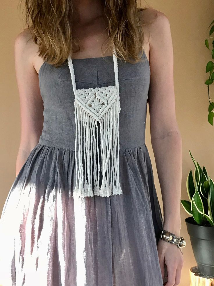 Mini Macrame Purse Necklace – White Cotton Fringe Bag – Mommy and Me, Kid's Accessory – Boho Chic, Hippie, Gypsy, Bridal, Festival Fashion