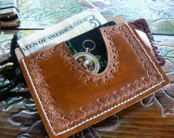 Black flip clip wallet leather money clip Xmas mens by GORIANI