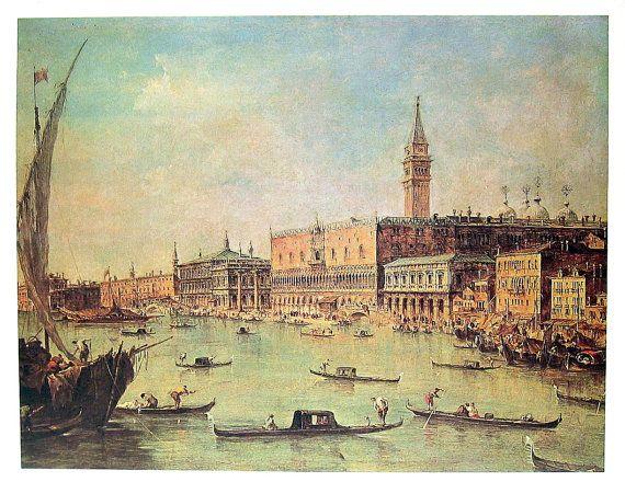 The Doge's Palace Venice - Francesco Guardi - Italian Painter - Masterpiece Painting - 1966 Vintage Print Reproduction - 12 x 15
