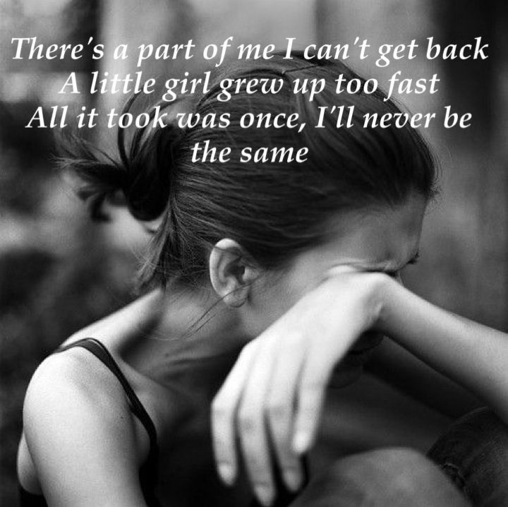 There's a part of me I can't get back a little girl grew up too fast all it took was once I'll never the same. Warrior by Demi Lovato #lyrics
