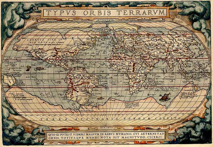 This is a map of the world as conceived by Europeans circa 1570. Though two centuries prior to Cook's time, explorers were still on the search for the mythical terra australis that is shown at the bottom of this world. While his first two voyages were devoted to finding this continent, Cook concluded after his second expedition that it was, in fact, non-existent.