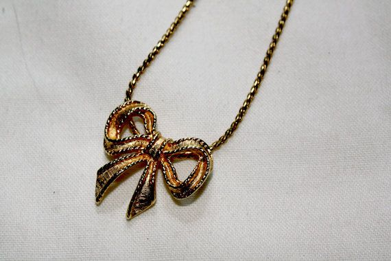 Avon Bow Necklace Vintage in Gold by IntoTheWardrobe on Etsy, $10.00