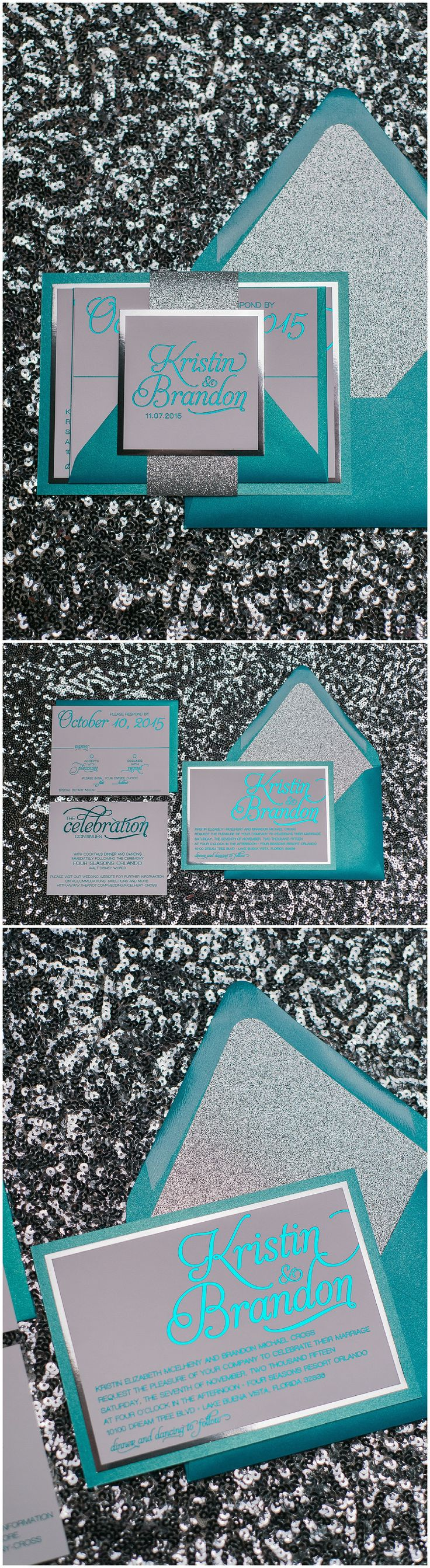 Wedding Invitations, Teal Foil Stamping, Teal and Silver, Silver Glitter