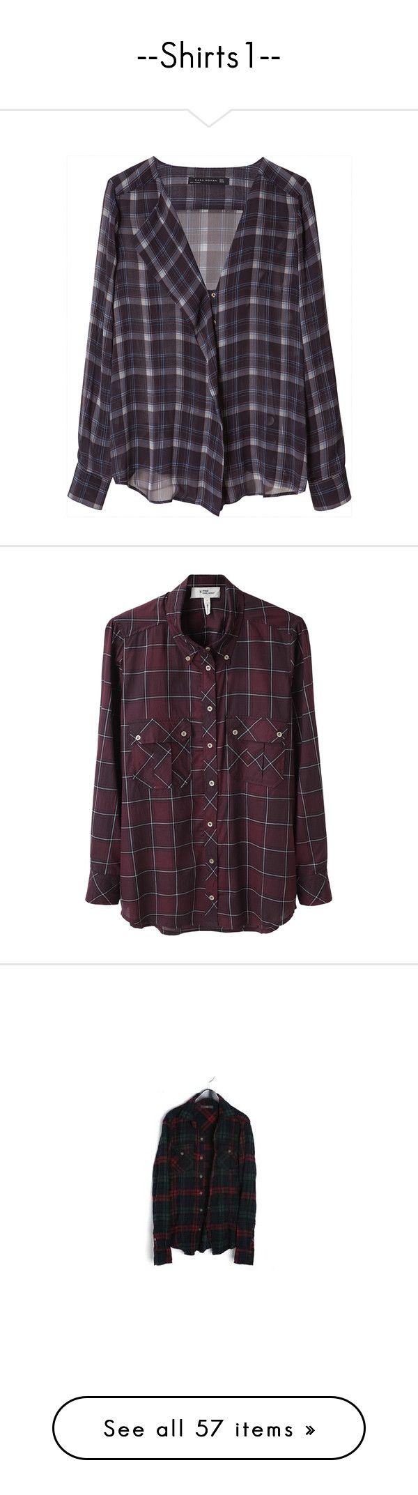 """""""--Shirts1--"""" by centurythe ❤ liked on Polyvore featuring tops, blouses, shirts, flannels, navy blue, navy blue checkered shirt, navy blue blouse, navy blue shirt, purple shirt and purple checked shirt"""