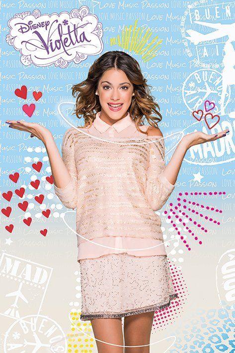 Muziek, plezier, liefde.. alles komt bij Violetta op haar pad! Deze kleurrijke Violetta poster staat leuk in elke tienerkamer!