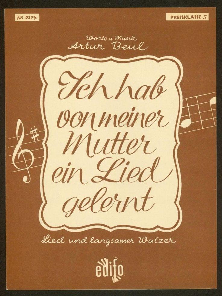 ARTUR BEUL - ICH HAB VON MEINER MUTTER EIN LIED GELERNT - LANGSAMER WALZER 1952 | eBay