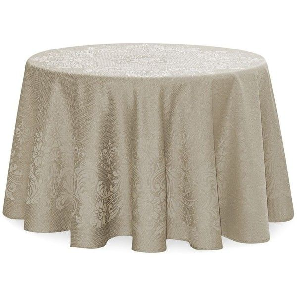 "Waterford Celeste Tablecloth, 70"" Round ($76) ❤ liked on Polyvore featuring home, kitchen & dining, table linens, taupe, waterford, round tablecloths, waterford tablecloth, waterford table linens and circular tablecloth"
