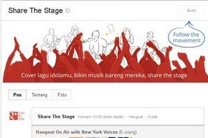 """""""Share The Stage"""" Google+ Share The Stage. Ini merupakan halaman web khusus yang disediakan untuk musisi dan penggemar. Kita bisang langsung berinteraksi lewat obrolan digital. Nggak hanya dengan seleb, kita juga bisa kenalan dengan perusahaan label rekaman, komunitas musik, produser lagu, komposer dan banyak lagi. Cocok buat yang cinta banget sama musik."""