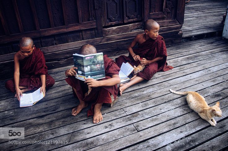 Novice monks study at a monastery in Nyaung Shwe township southern Shan state Myanmar. by exiter