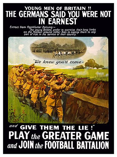 Football Battalion, British World War I Poster, wwi poster, trench art, great war