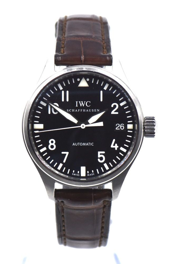 b233210d57dd IWC AUTOMATIC DATE MIDSIZE PILOTS WATCH 3256-01 BLACK DIAL STAINLESS STEEL  BOX
