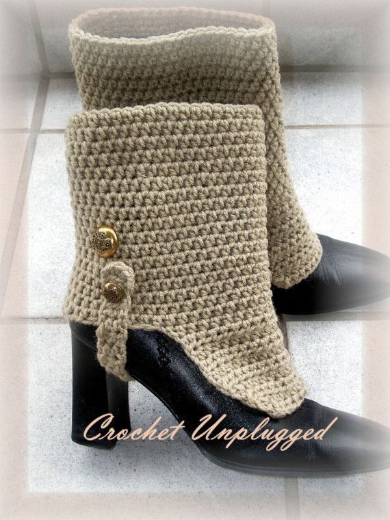 Crocheted spats Look of Linen Throwback Gaiters - Made to Order