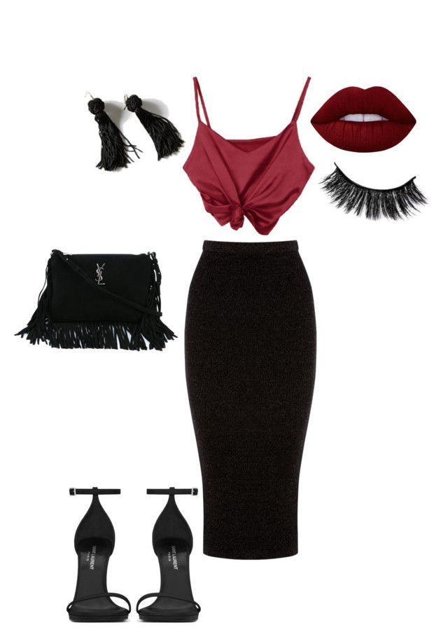 """""""Untitled #53"""" by sandie-mefaddi on Polyvore featuring Warehouse, Yves Saint Laurent, Lime Crime and Vanessa Mooney"""