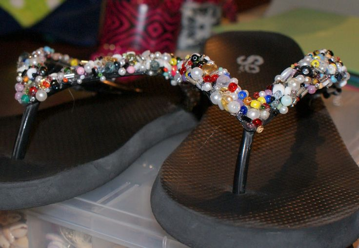 Do it yourself beaded flip flops | Drama Queen Seams