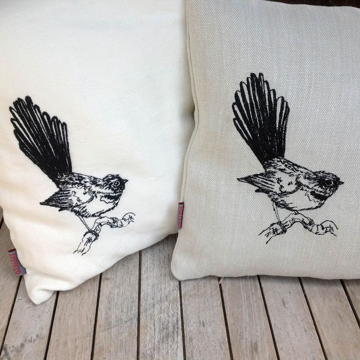Fantail Kiwiana freehand embroidered bird cushion cover LINEN   Felt