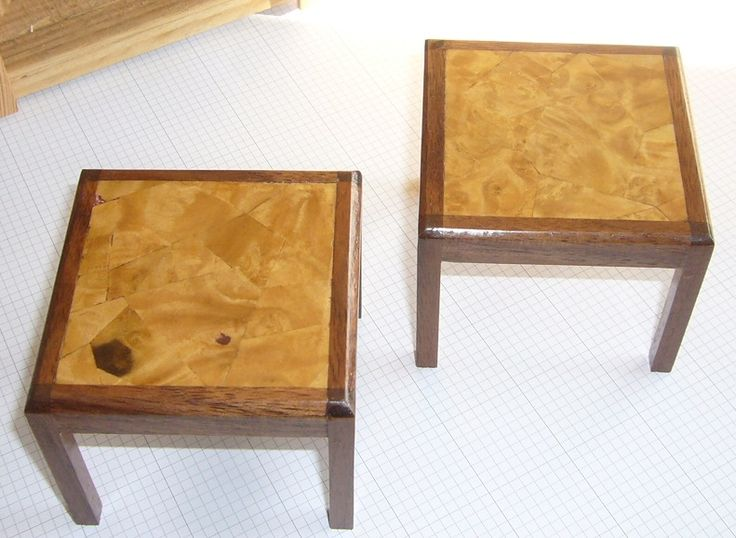 """Set of dining room tables. H 2 1/2"""" x L 3"""" x W 3"""" Walnut and ashwood veneer. For sale at www.aegminiatures.com"""