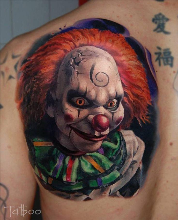 Left Back Shoulder Colored Clown Tattoo For Men