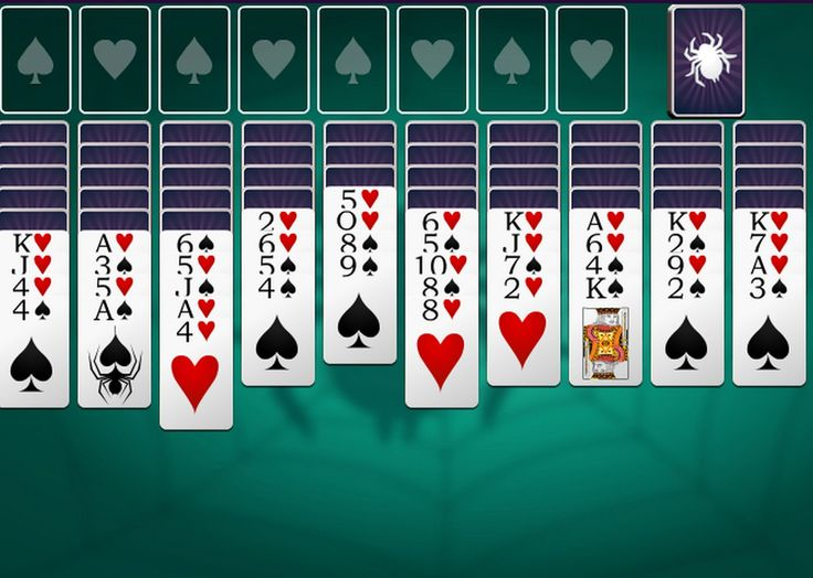 Classic Spider Solitaire game with 2 suits. Make sequences of cards in suit from King to Ace to remove them from the game. You can move a card or a valid sequence (in suit) to an empty spot or to a card 1 higher in value. Click on the stack (top right) to get new cards.