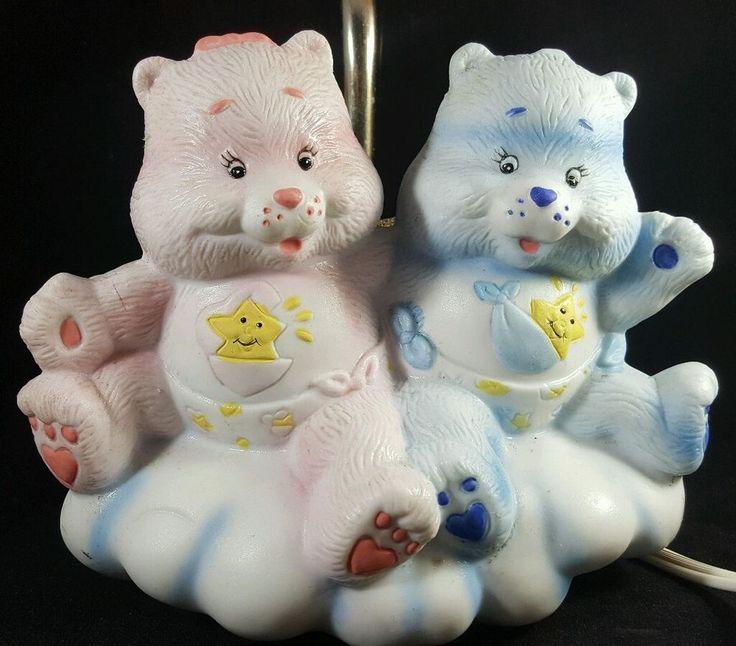 vintage care bears hugs tugs girl boy baby bear bedside table lamp nursery
