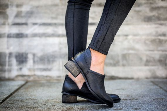 10% Sale Leather Boots Black Boots Handmade Boots Ankle by abramey