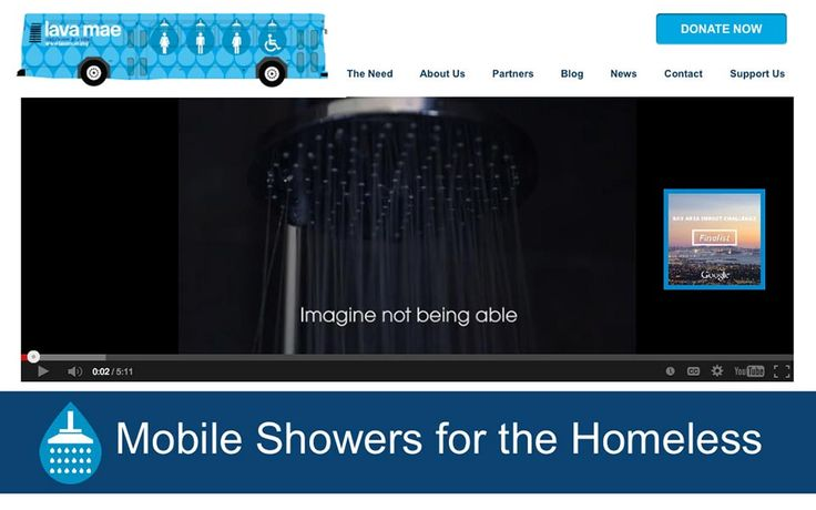 lavamae.org home page. Mobile showers for the homeless.