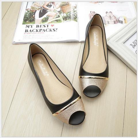 [EBay] Casual Peep Toe Women Flat Shoes Summer Black Shoe Slip On Ladies Boat Shoes Plus Size 33-43