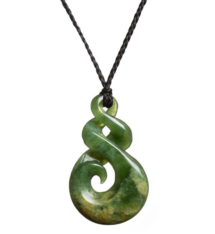 Lime Green NZ Pounamu Koru/Twist Necklace : Mountain Jade New Zealand