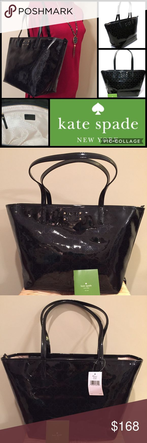 "🆕🎁 KATE SPADE Black Patent Shoulder Bag Tote NWT KATE SPADE Black Patent Harmony Metro Spade Shoulder Bag Tote New With Tags  MSRP: $178.00  Exterior Features Subtle Laser Perforated Signature Spade Pattern & Logo Plaque  Interior Features Signature Lining, One Zip Pocket With Logo Plaque & Two Slip Pockets Measures Approximately 11.5"" (L) At Bottom, Increasing To 16.5"" At Top 10""(H) x 5.5"" (D) Dual Handles With 8.5"" Drop Zip Top Closure  Includes Care Card  🎁 Great Gift Idea! 🎁 Smoke…"