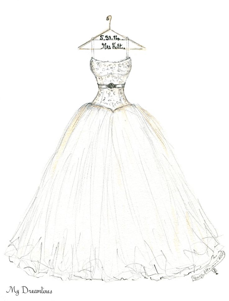 Wedding dress sketch for an Valentine's Day gift anniversary gift, wedding gift and bridal shower gift. http://www.mydreamlines.com/ #valentinesdaygift #anniversarygift #weddinggift #weddinggifttobride