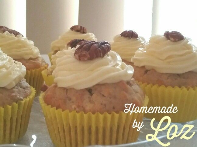 Carrot, walnut and pecans cupcakes with creamy lemon icing -Homemade by loz