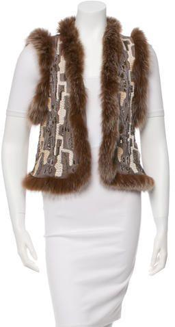Alice + Olivia Fur-Trimmed Embroidered Vest