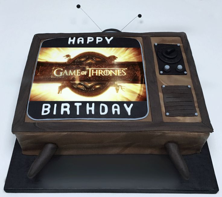 Cakes:  Game of Thrones TV cake with edible image programme screen. The Cake Lab Bakery, Ranelagh, Dublin, Ireland. Artisan Baking Studio.