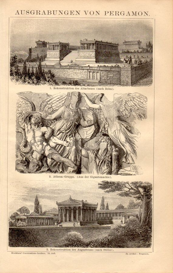 1885 Pergamon Temple Antique Print Vintage by Craftissimo on Etsy