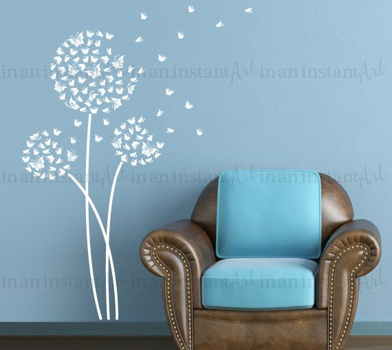 butterflies dandelion wall decal butterflyinaninstantart | sadie