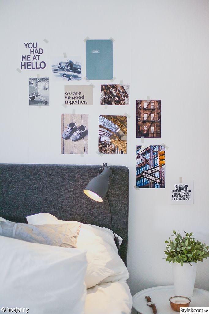 säng,tavelvägg,washi,washitejp,lampa