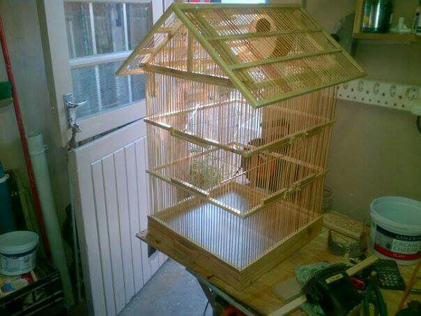 Bird cage from reclaimed bamboo blind