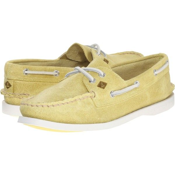 Sperry A/O 2 Eye White Cap (Light Yellow) Women's Lace up casual Shoes ($53) ❤ liked on Polyvore featuring shoes, athletic shoes, yellow, white shoes, yellow cap, laced up shoes, yellow shoes and white boat shoes