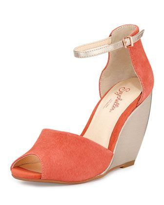 $25 off $125+ purchase with promo code APRIL25 Sunlight+Suede+Wedge+Sandal,+Melon+by+Seychelles+at+Neiman+Marcus+Last+Call.