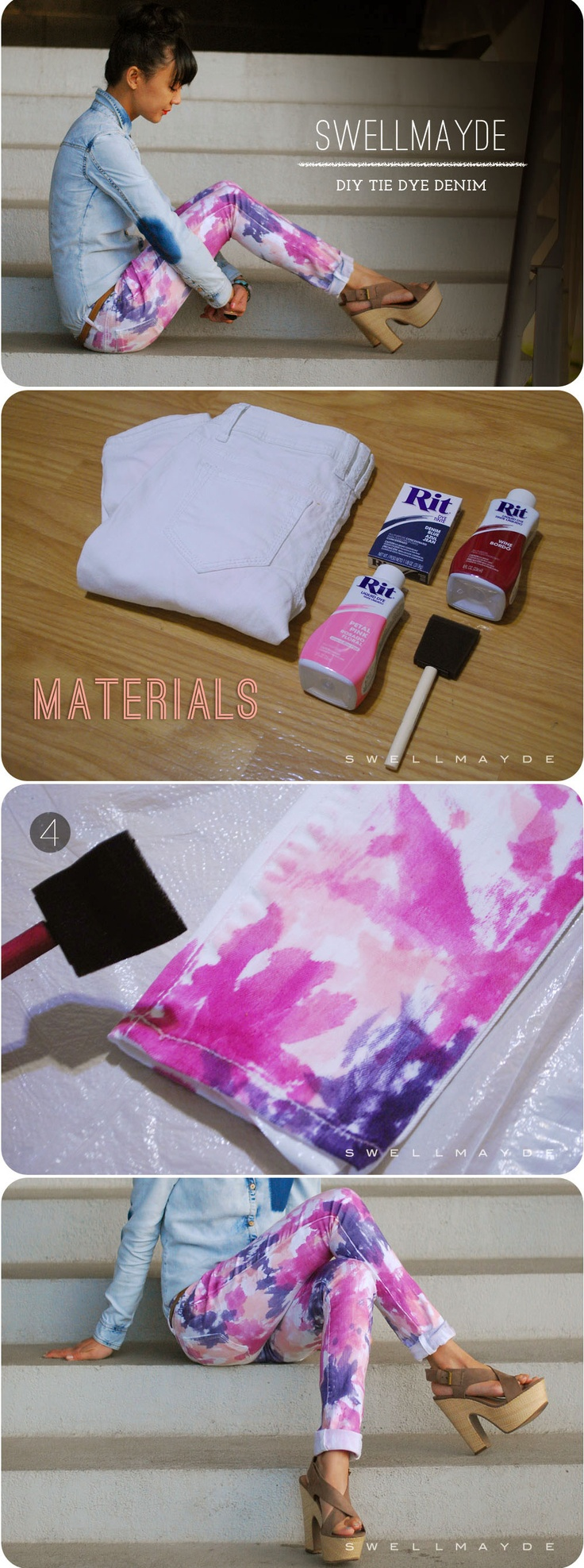 DIY Tie Dye Jeans Got to remember someones tip: cold water wash with a tablespoon of salt to hold the dye in...such a fun look! <3 this! Will be trying asap!!