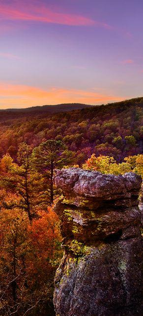 Autumn dusk in the Ozark National Forest of Arkansas • photo: Gale Rainwater